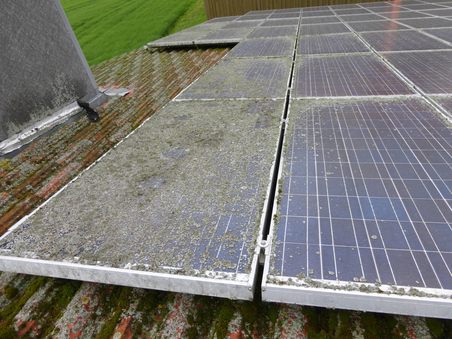 Verschmutzte Photovoltaikanlage