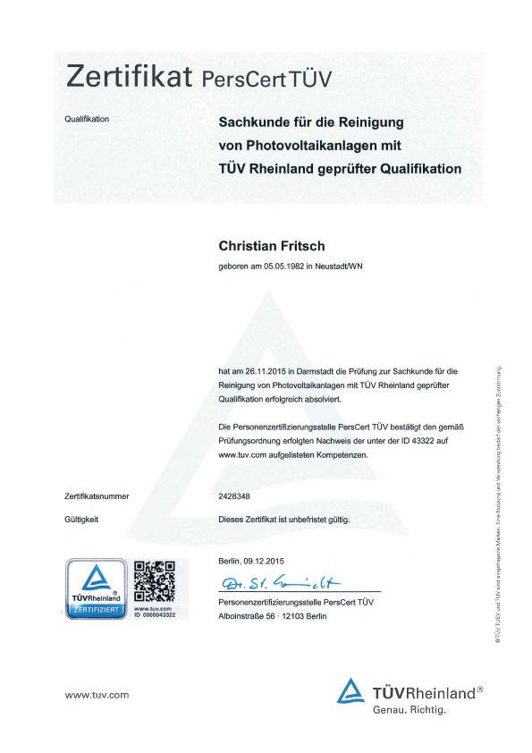 Zertifizierung für die Reinigung Ihrer Anlagen