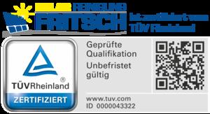 Solar Fritsch ist zertifiziert vom TÜV Rheinland